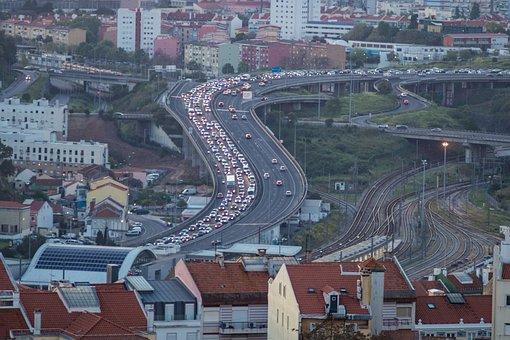 Lisbon, Portugal, Traffic, Highway, Autos, Jam