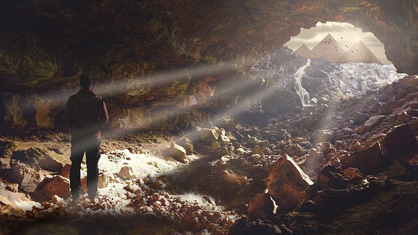 Cave, Light, Pyramid, Egypt, Man, Male, Grotto, Mood