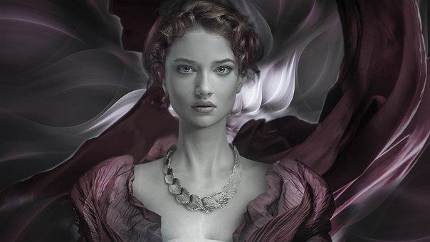 Fantasy, Woman, Beautiful, Elegant, Romantic, Portrait