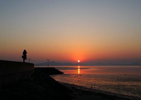 Mornang, Sunrise, Poto, Sea, Red, Women, Nature, Sky