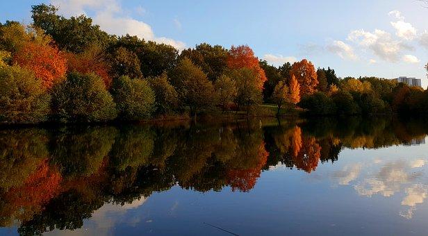 Autumn, Red, Orange, Green, Lake, River, Reflection