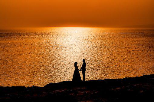 Couple, Sunset, Sea, Horizon, Love, Romance, Romantic