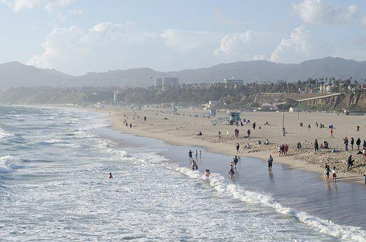 Ocean, Santa Monica Beach, California, Beach, Sea, Sky