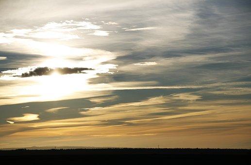 Landscape, Sun, Nature, Sky, Sunset, Field, Clouds