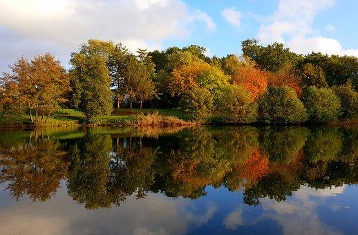 Autumn, Reflection, Green, Red, Orange, Cloud, Sky