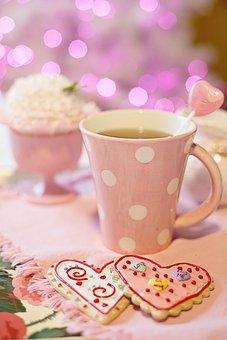 Coffee, Tea, Pink, Cookies, Valentine's Day, Valentine