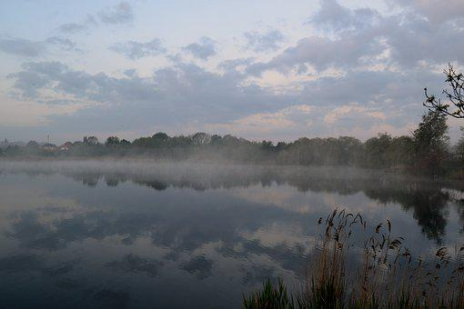 The Fog, Lake, Landscape, Water, In The Morning