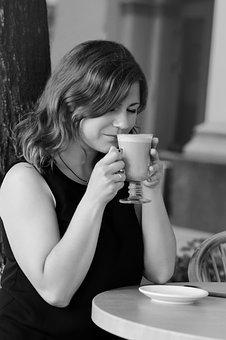 Coffee, Woman, Girl, Thoughts, Hands, Café, People