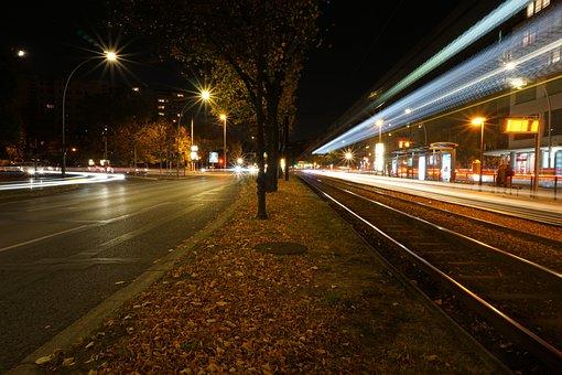 Tram, Long Term, Berlin, Tram Station, Night, Light