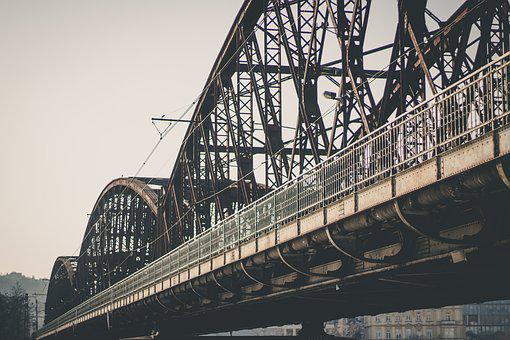 Bridge, Railway, Trolley, River, Train, Transport