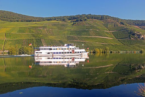 Mosel, River, Vineyard, Ship, Germany, Mirroring, Water