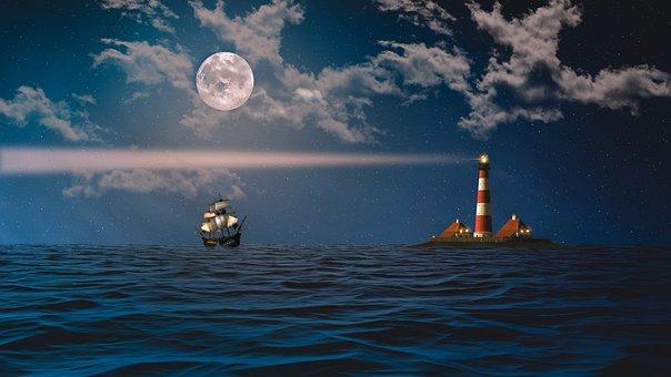 Sea, Wave, Lighthouse, Ships, Clouds, Sky, Light, Star