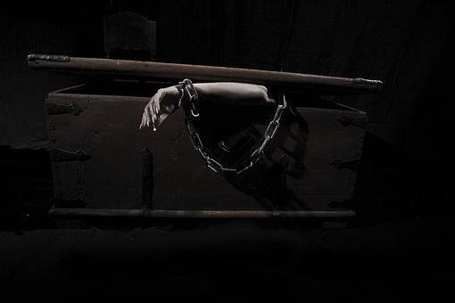Arm, Coffin, Chain, Closed, Old, Rust, Lock, Woman