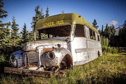 Old Bus, Weathered, Nostalgia, Junkyard, Vehicle, Auto