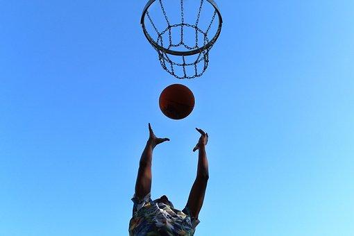 Basketball, Basket, Ball, Low Angle Shot, Sport, Win