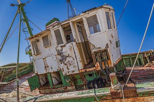 Ship, Bridge, Old, Abandoned, Harbor, Vintage, Broken