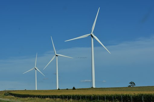 Windmills, Electricity, Farm, Wind Turbine, White