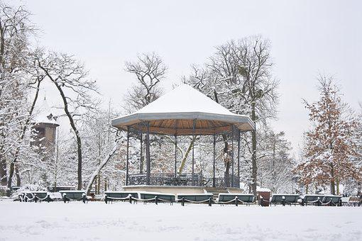 Snow, Kiosk, Garden, Paris, Winter, City