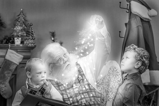 Christmas, Storybook, Santa, Black And White, Job
