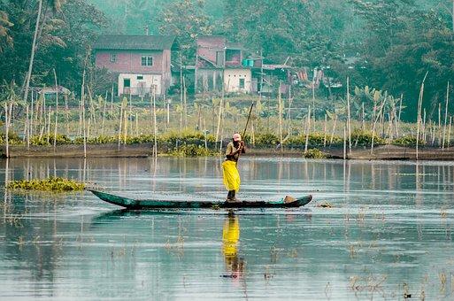 Fisherman, Boat, Water, Lake, Man, Ship, Fishing