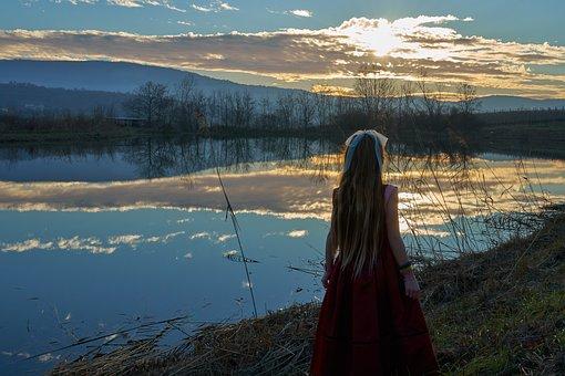 Sunset, Lake, Girl