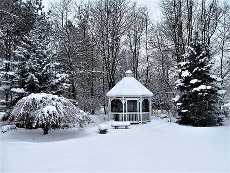 Gazebo, Cupola, Winter, Snow Covered, Landscape