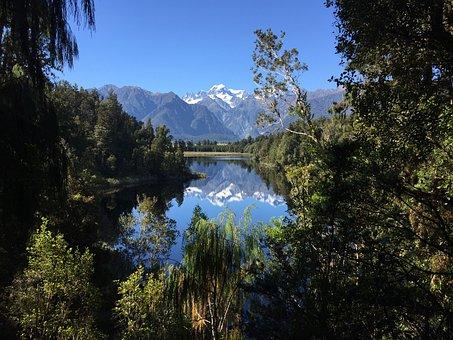 Mirror Lake, New Zealand, Travel, Panorama, Landscape