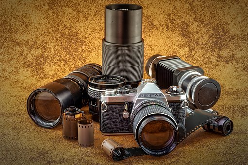 Lenses, Analog, Old, Camera, Pentax, Photo, Film