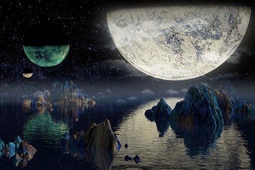 Space, Planet, Planets, Moon, Light, Night, Stars