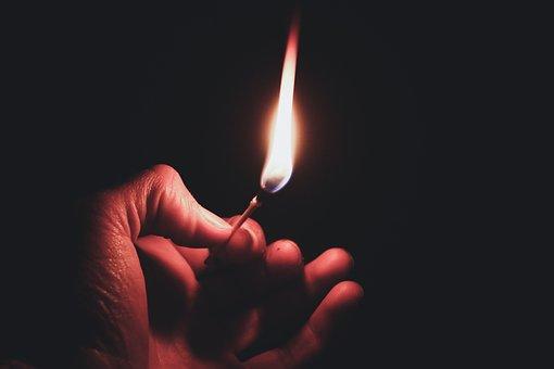 Flame, Fire, Hand, Match, Beautiful, Hot, Burning
