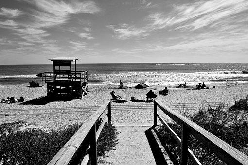Boardwalk, Ocean, Beach, Sea, Water, Sky, Seaside