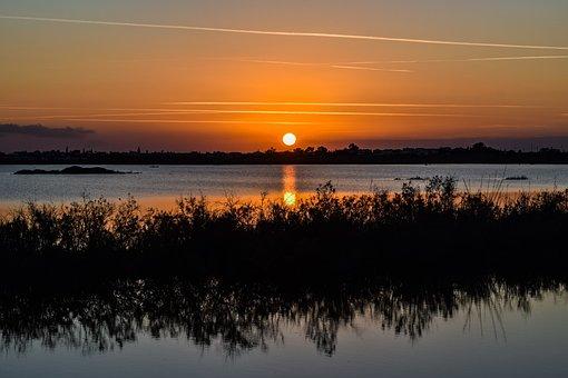 Lake, Sunset, Water, Landscape, Sky, Nature, Evening