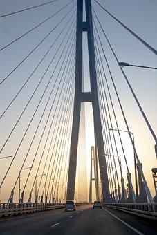 Sunset, Bridge, Sky, Road, Architecture, Vladivostok