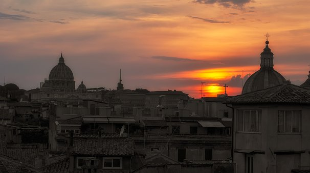 Rome, Sunset, The Roofs, Architecture, City, Houses