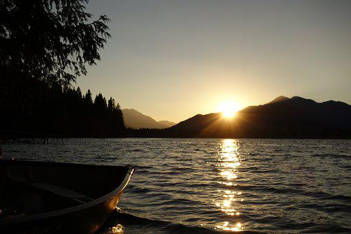 Canoe, Boat, Sunset, Lake, Mountain, Peaceful, Tranquil