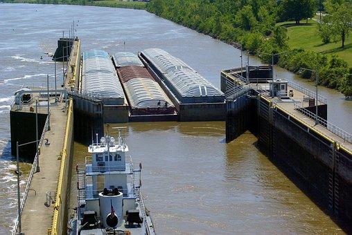 Murray Lock, Barges, Lock, Tug, Tugboat, Arkansas