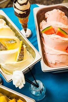 Ice Cream, Gelato, Pineapple, Watermelon