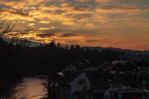 Afterglow, Aare, Bern, Abendstimmung, Sky, Cloud