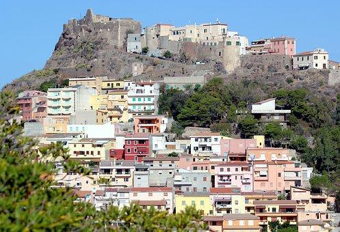 Castelsardo, Sardinia, Italy, City, Castle, Colors