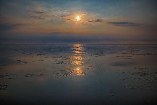 West Frisian, Noord-holland, Sunset, Sea, Coast
