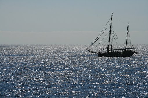 Sailing Vessel, Mallorca, Coast, Sea, Glitter