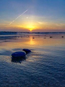 Denmark, Beach, Water, Sunset, North Sea, Sea, Coast