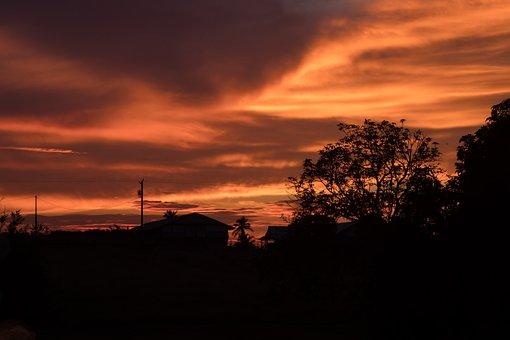 Orange, Sunset, Landscape, Cloudy, Dusk, Horizon