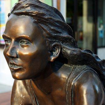 Freewheelin Bronze Sculpture, Young, Female, Grand