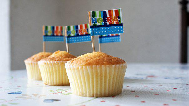 Party, Cake, Flag, Hurray, Sweetness, Food, Pastries