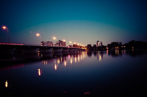 Bridge, Light, Floor Lamp, Night, Sky, City, Reflection