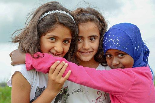 People, Refugee, Children, Girls, Portrait, Child