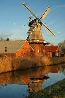 Mill, Mirroring, Water, Idyllic, Sky, Landscape, Rest