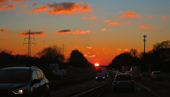 Highway, Traffic, Sunset, Road, Vehicles, Fast, Autos