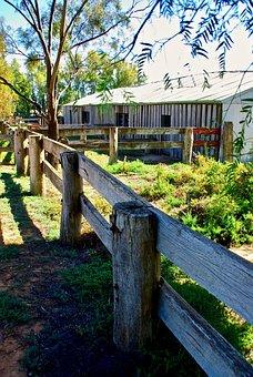 Farm, Fence, Building, Wooden, Rustic, Barn